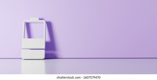 3D rendering of white vertical symbol of half charged two pieces battery  icon leaning on on color wall with floor blurred reflection with empty space on right side