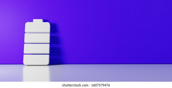 3D rendering of white vertical symbol of full charged four pieces battery  icon leaning on on color wall with floor blurred reflection with empty space on right side