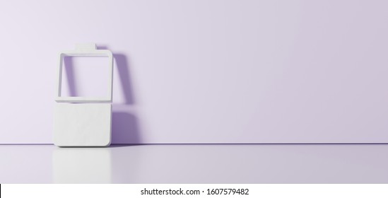 3D rendering of white vertical symbol of half charged battery  icon leaning on on color wall with floor blurred reflection with empty space on right side