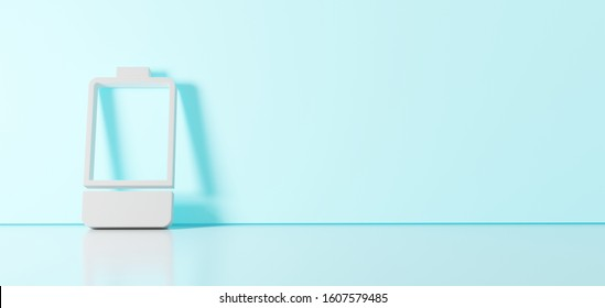 3D rendering of white vertical symbol of one third charged battery  icon leaning on on color wall with floor blurred reflection with empty space on right side