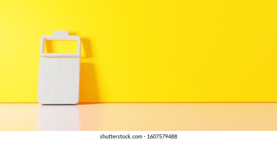 3D rendering of white vertical symbol of two third charged battery  icon leaning on on color wall with floor blurred reflection with empty space on right side