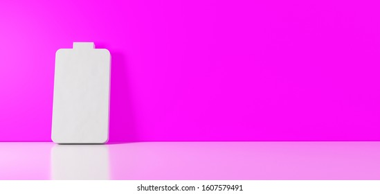 3D rendering of white vertical symbol of full battery  icon leaning on on color wall with floor blurred reflection with empty space on right side