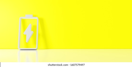 3D rendering of white vertical vertical symbol of charging empty battery with flash icon leaning on on color wall with floor blurred reflection with empty space on right side