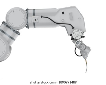 3d rendering white welding robot or robotic arm isolated on white background