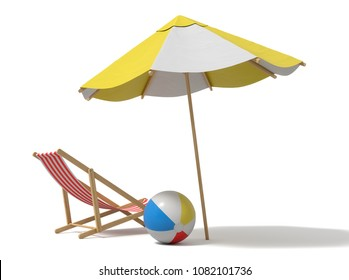 3d rendering of a white and yellow beach umbrella and wooden deck chair. Vacation for two. Catching rays. Rest at seaside.