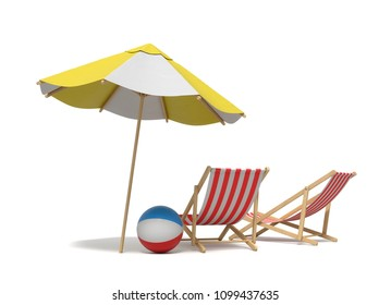 3d rendering of a white and yellow beach umbrella standing above two deck chairs. Vacation for two. Catching rays. Rest at seaside.