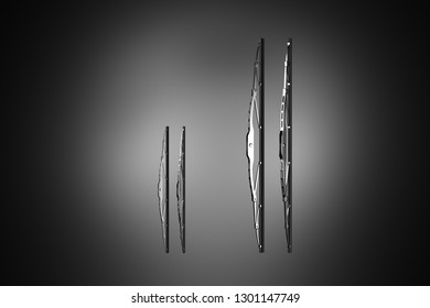 3D rendering. Windscreen wiper blade on a black background. Wiper blade for car. Spare parts, auto parts for driver safety. Wiper blade helps when it rains. Protection from rain cleaner wiper blade.