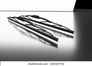 3D rendering. Windscreen wiper blade on a grey background. Wiper blade for car. Spare parts, auto parts for driver safety. Wiper blade helps when it rains. Protection from rain cleaner wiper blade.