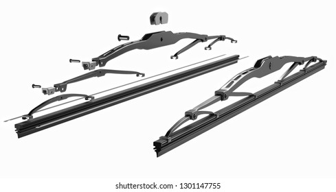 3D rendering. Windscreen wiper blade on a white background. Wiper blade for car. Spare parts, auto parts for driver safety. Wiper blade helps when it rains. Protection from rain cleaner wiper blade.