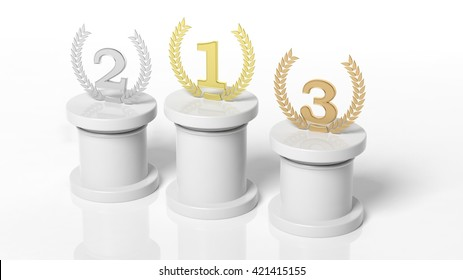 3d rendering of Winners podium, first, second and third place