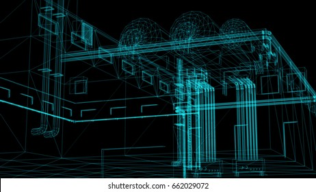 3d rendering - wire frame model of industrial buildings