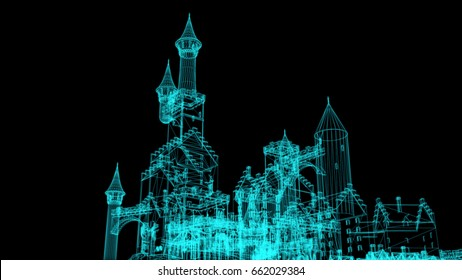 3d rendering - wire frame model of castle