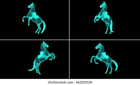 3d rendering - wire frame model of Horse Hologram in Motion.