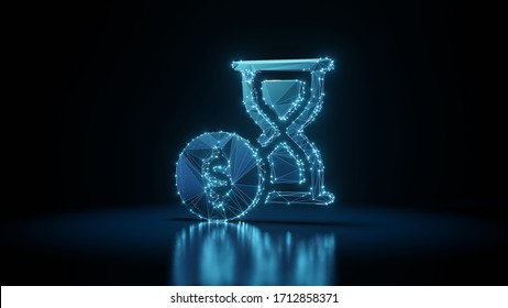 3d rendering wireframe digital techno neon glowing symbol of hourglass with dollar symbol with shining dots on black background with blured reflection on floor