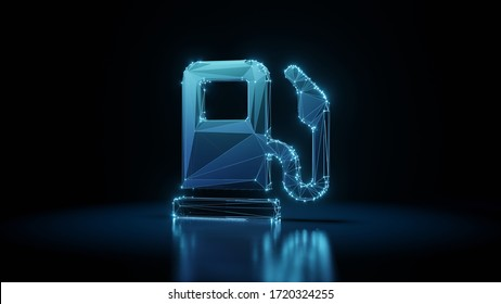 3d rendering wireframe digital techno neon glowing symbol of gas pump station with pedestal with shining dots on black background with blured reflection on floor