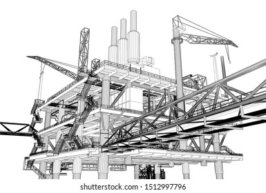 3D rendering , Wireframe drawing perspective oil rig construction plant.