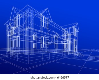 3D rendering wire-frame of house.