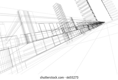 3D rendering wire-frame of office buildings. Concept - modern architecture and designing.