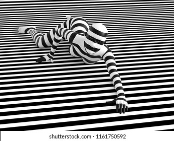 3D rendering of a woman lying on the floor on a black and white striped background, trying to break out of the mold. She doesn't fit or blend in.