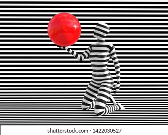 3D rendering of a woman standing on her knees on a black and white striped background, holding a red ball, trying to break out of the mold. She doesn't fit or blend in.