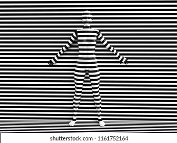 3D rendering of a woman trying to blend in with the black and white striped background, afraid to show her true colours. She is standing with her back against the wall and hiding like a wallflower.