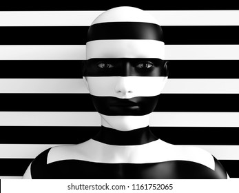 3D rendering of a womans face trying to blend in with the black and white striped background, afraid to show her true colors. She's standing with her head against the wall and hiding like a wallflower
