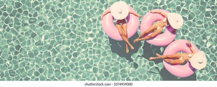 3d rendering. women swimming on float in a pool. retro style