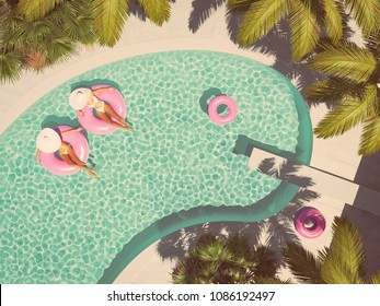 3d rendering. women swimming on float in a pool.