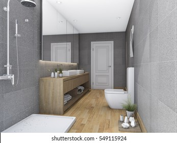3d rendering wood bathroom with modern design