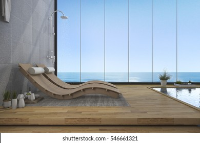 3d rendering wood bed bench near pool and sea view from window