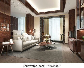 3d rendering wood classic living room with marble tile and bookshelf