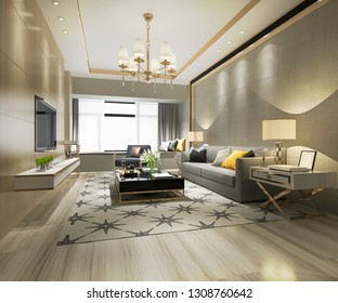 3d rendering wood classic living room and dining room with shelf