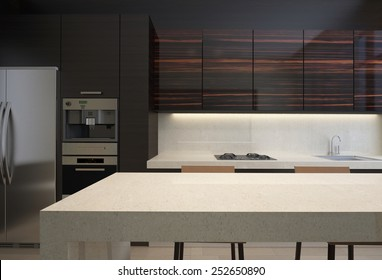 3d rendering  Wood kitchen