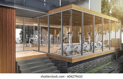 3d rendering wood modern fitness center in summer