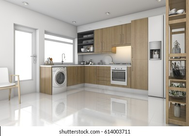 3d rendering wood modern laundry room and kitchen