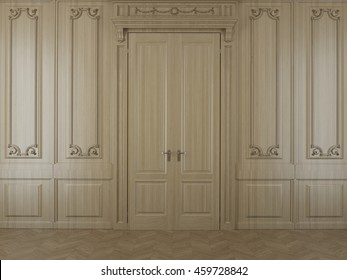 3D rendering wood panels in the interior