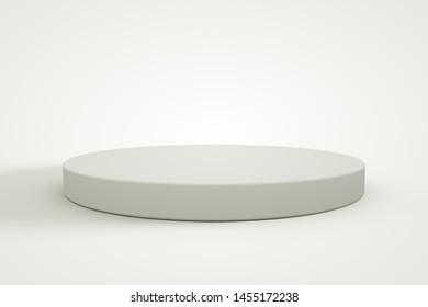 3d rendering wood podium minimal white wall scene