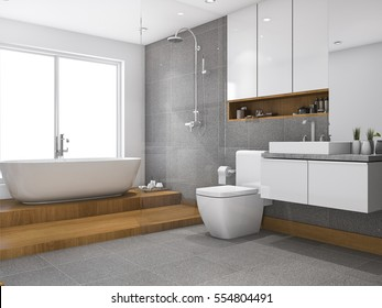 3d rendering wood step bathroom and toilet near window