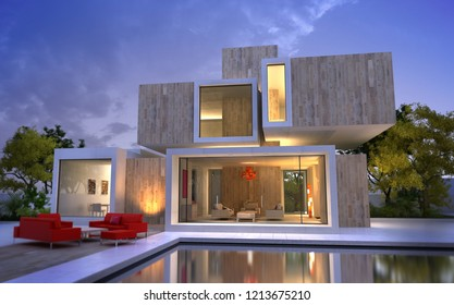 3D rendering of a wood and stone luxurious villa with swimming pool