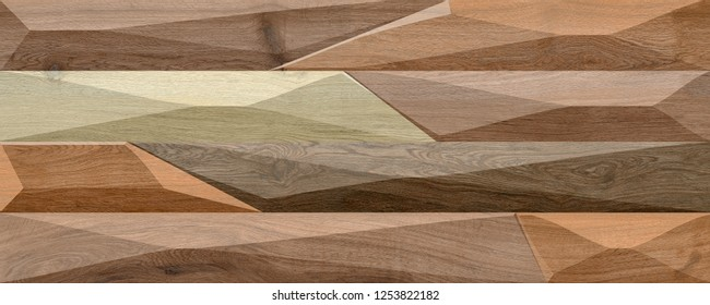 3D rendering wood strip wall elevation for background