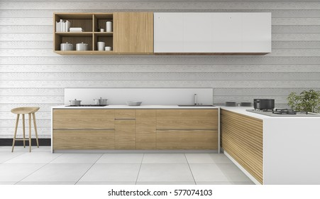 3d rendering wood vintage kitchen and dining room