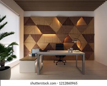 3d rendering wood wall panels light on it and Executive desktop in modern office