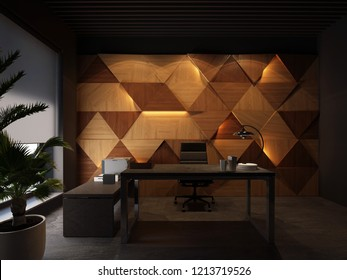 3d rendering wood wall panels light on it and Executive desktop