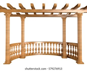 3D rendering. Wooden balustrade with pergola and columns isolated