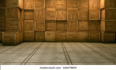 3D Rendering of wooden box virtual studio.