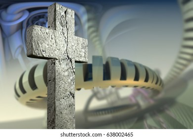 3d rendering - Wooden cross against the futuristic background
