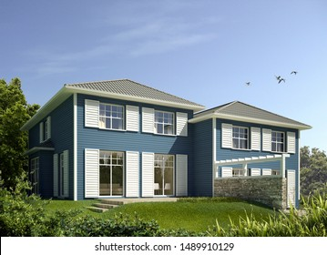 3d rendering of a wooden duplex house