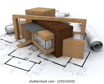 3D rendering of a wooden house on top of blueprints