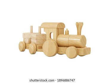 3d rendering wooden kids train with toy trailer on white background no shadow