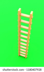 3D rendering of wooden ladder with view from above, isolated on green background